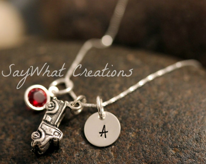 Sterling Silver Mini Initial Charm Necklace with Truck Charm and birthstone