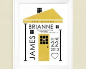 Personalized Wedding Gift or  Family Name House Art Print 8x10