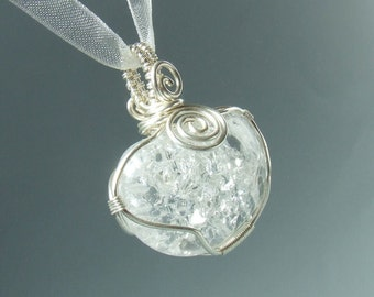Rock crystal pendant, spiritual stone necklace silver plated jewelry, wedding jewelry bridal necklace