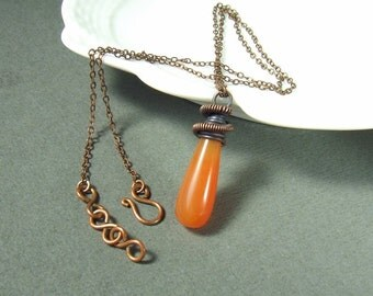 Carnelian necklace, natural stone copper pendant, handmade jewelry