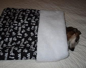 Small Dog Black / White Woof Print Snuggle Sack / Sleeping Bag FREE SHIPPING within the US