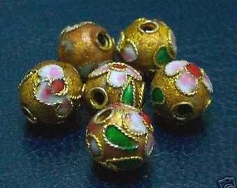 NEW DIY Loose Cloisonne Beads 6pc Bronze 6mm Round Bead Findings jewelry making