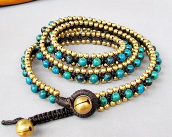 Charm Triple Wrap Bracelet with Chrysocolla Bead and Brass Bead W175