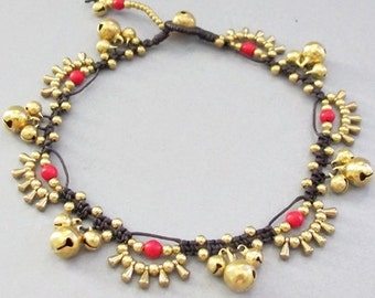 Bohemian Little Brass Water drop Red Coral Chic Anklet