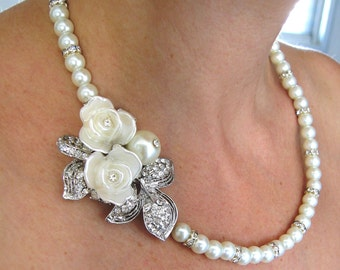 Wedding Necklace, Pearls and crystal Bridal Necklace, Vintage Wedding Necklace, Bridal Jewelry Pearls, Wedding Pearl Necklace -Erin