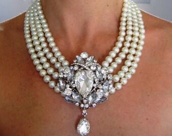 Wedding Necklace Swarovski Pearl Swarovski Crystal Rhinestone Necklace Bridal Necklace Wedding Jewelry Wedding Accessory Bridal Jewelry