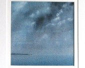 Night time storm over the ocean original watercolour painting
