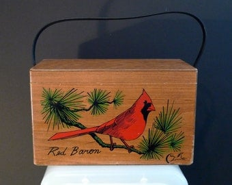 Enid Collins Cardinal Box Bag Vintage Red Baron Wood Purse Painted Bird birdwatcher handbag Collins of Texas 1960s 1970s Handbag Woodland
