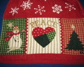 Hanging crocheted top kitchen towel with snowflakes and snowman