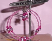 Bright  Fuschia Pink   BOHO Gypsy  Hoops
