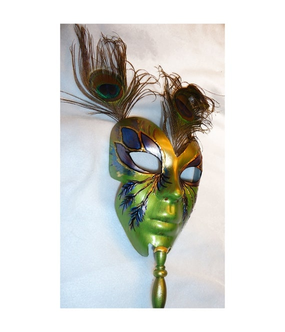 OOAK, green purple blue gold colors, Peacock feathers Masquerade Wearable Halloween mask, Mardi Gras, Renfaire, larp, one of a kind costume