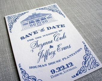Houmas House Sketch Save the Date
