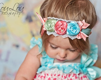 Gorgeous Vintage Inspired Triple Rosette Headband in Green, Aqua Blue and Coral Pink - Little Girl Toddler Headband - Perfect Photo Prop