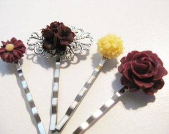Burgundy and Pale Yellow Floral Bobby Pin Set B-40