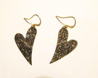 Gold Embossed Heart Dangle Earrings