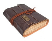 Brown Vegan Faux Leather Journal with Tea Stained Pages