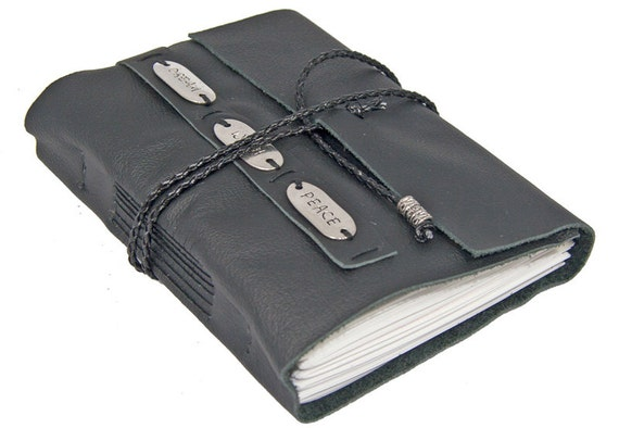 Black Leather Journal with Bookmark