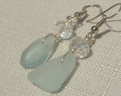 Aqua sea glass triangle earrings with Thai crystal, bridal jewelry, something blue, hypoallergenic