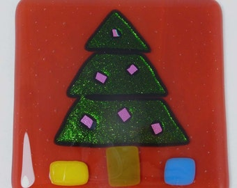 Festive Fused Glass Coaster with Christmas Tree - set of 2