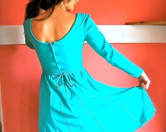 Vintage 1970s Aqua Turquoise Mint Green Dress High Waist Feminine by Bianchi 70s