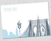 New York Brooklyn Bridge Thank You Notes - Set of 10