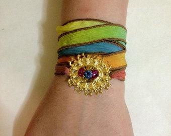 Vintage Convertible Bracelet/Anklet/Choker/Necklace/Headdress/Headband Multicolor Ombre Silk Wrap