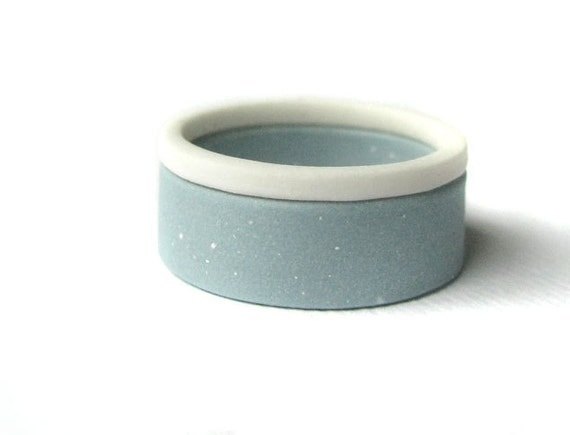 Color Block Jewelry - Blue and White Porcelain Double Stack Rings - Size 6 - Size L