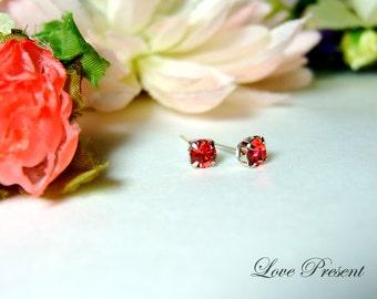 30% OFF - Classic Glamour Swarovski Crystal Mini earrings stud style (custom made) - Color Padparadscha