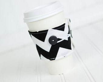Black Chevron Coffee Sleeve Coffee Cozy for Women or Men, Reusable Coffee Cuff Cozy, Unisex Coworker Gift Idea