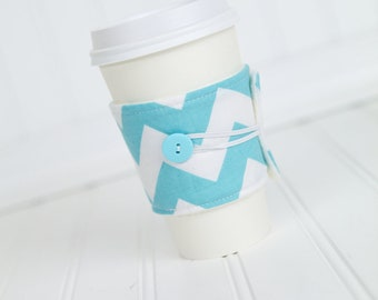 Chevron Coffee Sleeve, Coffee Cozy, Aqua Blue for Girls, Reusable