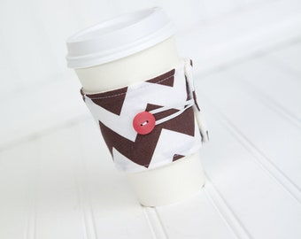 Brown Chevron Coffee Sleeve Coffee Cozy for Men or Women