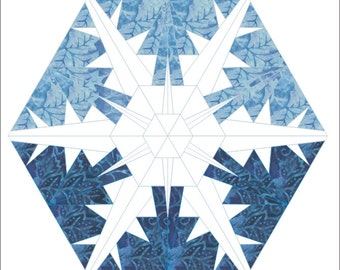 Snowflake 3 paper pieced quilt hexagon pattern winter Christmas INSTANT DOWNLOAD PDF