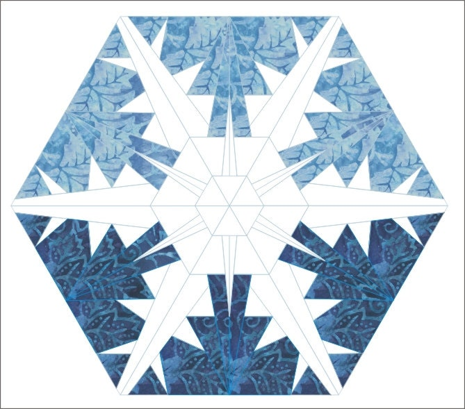 Snowflake 3 Paper Pieced Quilt Hexagon Pattern Winter