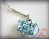 Miniature Tiny Cell Phone Bal City Bag Charm in Light Blue Leather