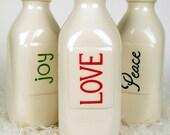Ceramic Holiday Christmas Milk Vases, set of 3