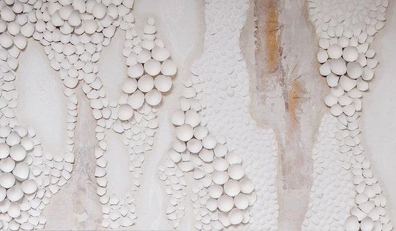 Grande peinture blanche abstraite sur toile 8 x 4 for Peinture blanche