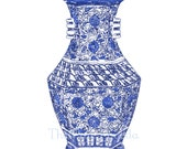 SALE Blue and White Chinese Vase Giclee 8x10