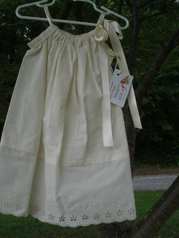 Ivory Eyelet Pillowcase Dress Size 2T OOAK