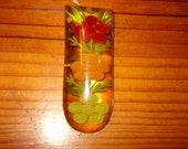First Rate, Beautiful 1940's Reverse Carved APPLE JUICE BAKELITE Vintage Floral Dress Clip/Brooch