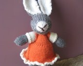 Bunny Rabbit Toy named Bella Hand Knitted with Orange Party Dress