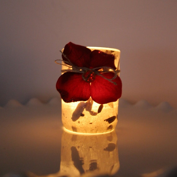 berry red flower housewarming gift candle holder luminary with handmade paper