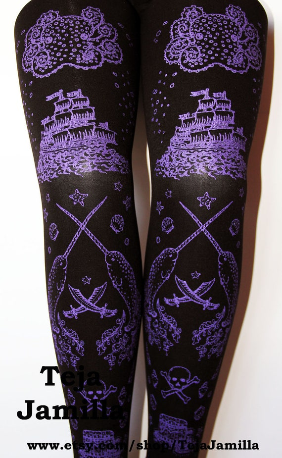 Pirate Printed Tights Medium Tall Amethyst on Black Women Tattoos Octopus Narwhal Squid Sailor Anchor