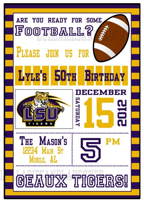 Custom LSU Football Tailgate Birthday Invite Digital File You Print 5x7
