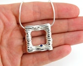 Modern Necklace - Silver Square Pendant Necklace - Medium size Necklace - Sterling Silver Necklace with Small Natural Blue Sapphire