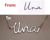 Custom Gold Name Necklace 14K Gold Handwriting Necklace, Handwriting Jewelry