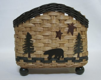 Napkin Basket / Table Top Basket-Bear / Handwoven Basket