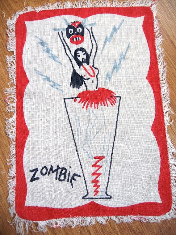 FAB midcentury vtg cocktail napkin, textile. Good condition. RARE whole set available.