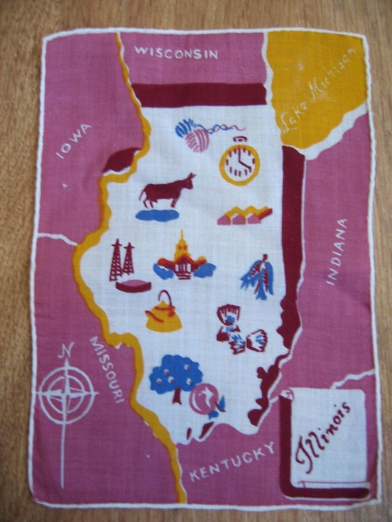 Pink Illinois. Vtg midcentury cocktail napkin, collectible textile.