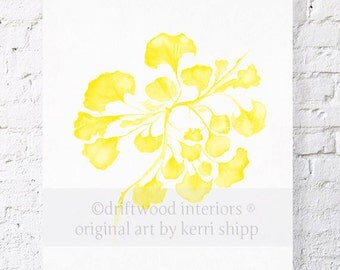 Sea Fan IV in Marigold Watercolor Print - Yellow Sea Life Art Print - Sea Coral Wall Art in Marigold