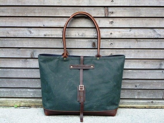 waxed canvas bag carry all/tote bag with oiled leather bottem UNISEX